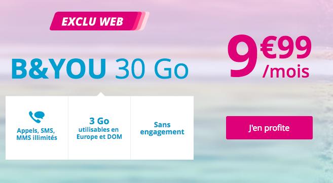 L'abonnement B&YOU 30 Go à 9,99€.