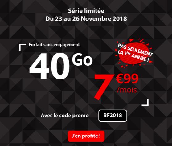 Le forfait Auchan telecom 40 Go.