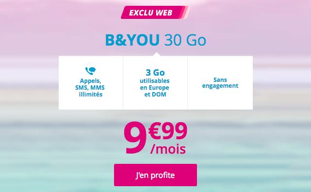 Le forfait promo B&YOU 30 Go.