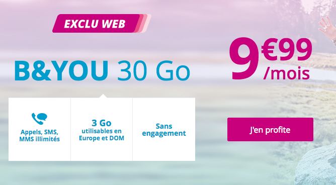 Promotion forfait mobile B&YOU 30 Go Bouygues Telecom