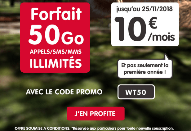 Forfait mobile avec 50 Go d'Internet mobile en promotion chez NRJ Mobile.
