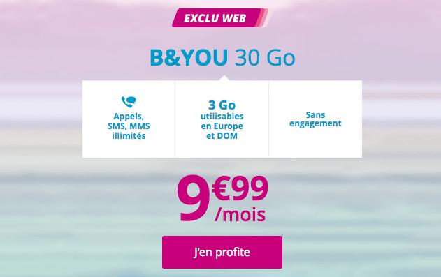 Le forfait 4G B&YOU 30 Go est en promotion chez Bouygues Telecom.