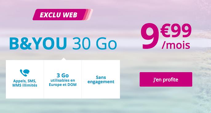 Le forfait B&YOU 30 Go est en promotion à 9,99€/mois.