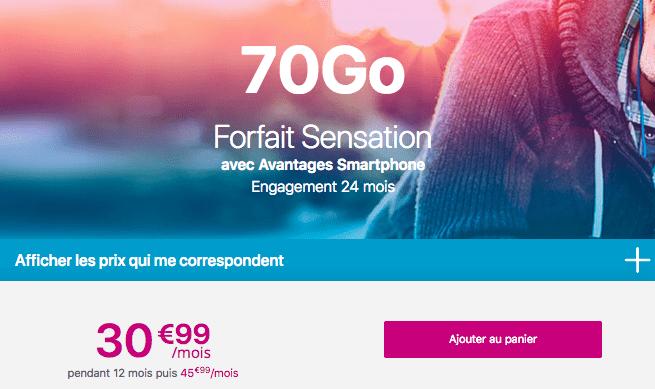 le forfait mobile Sensation 70 Go de Bouygues Telecom.