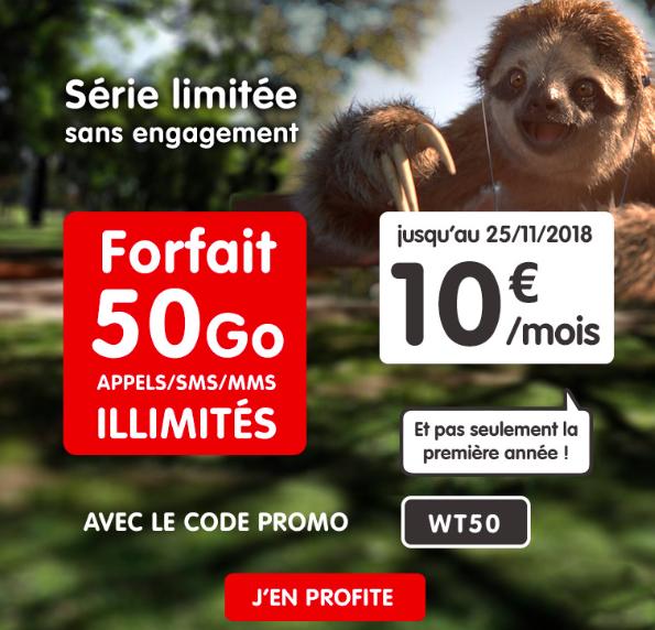 Le forfait NRJ Mobile 50 Go à 10 euros.