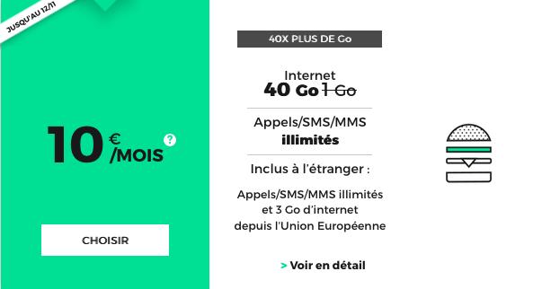 RED by SFR forfait mobile riche en 4G à 10€/mois.