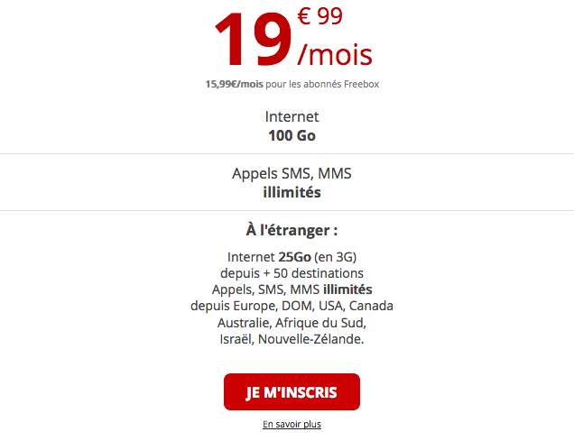 Forfait mobile international de Free mobile.
