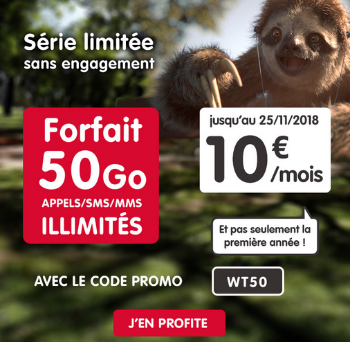 50 Go d'Internet en 4G pour 10€ avec le forfait illimité à vie de NRJ Mobile.