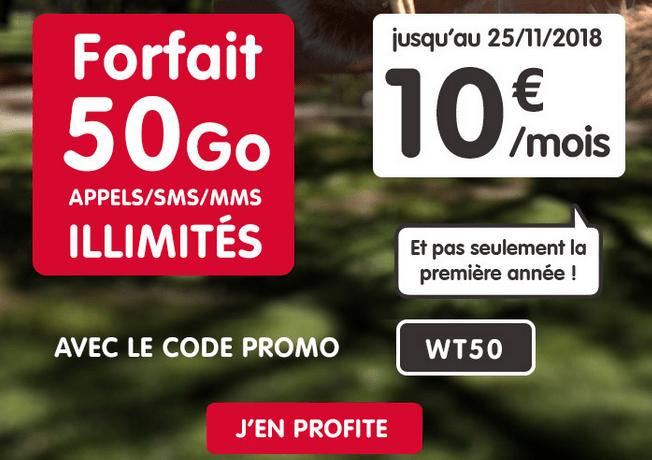 Forfait mobile en promotion chez NRJ moble avec 50 Go 4G.