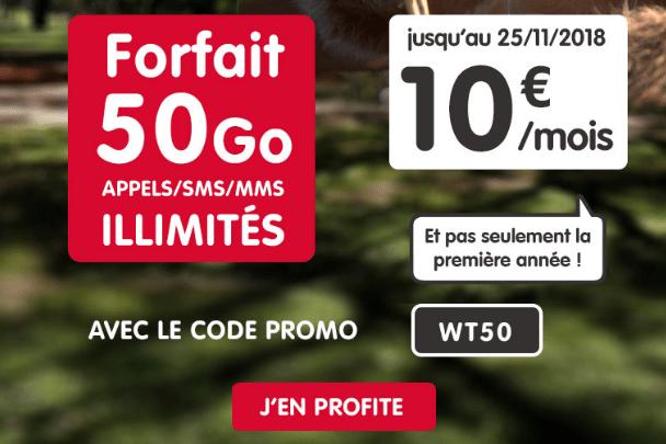 Promotion forfait NRJ Mobile avec 50 Go d'Internet mobile.