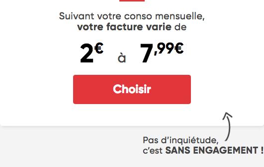 Forfait mobile Prixtel prix adaptable qui démarre à 2€.