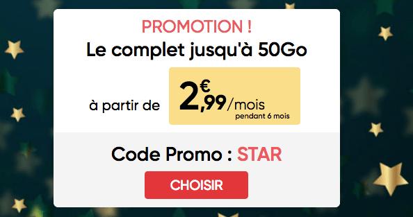 Promotion forfait mobile illimité Prixtel avec 50 Go 4G.