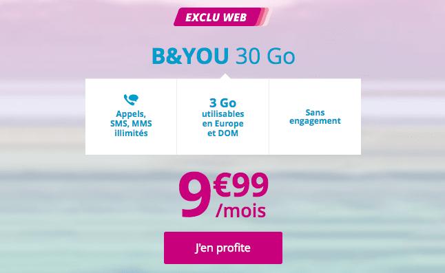 Forfait mobile B&YOU 30 Go en promotion chez Bouygues Telecom.