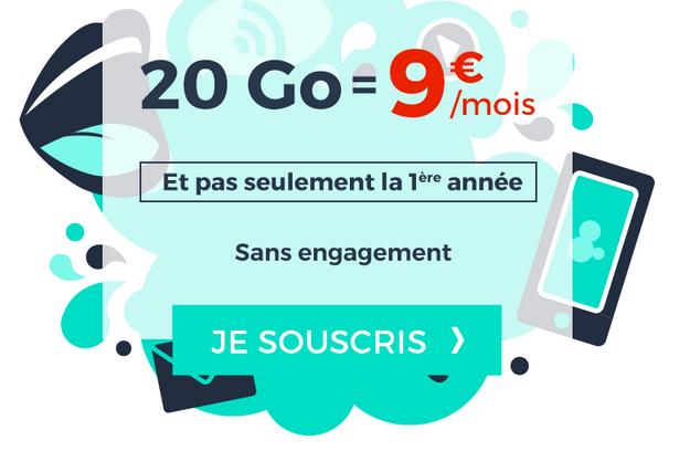 Forfait mobile Cdiscount Mobile en promotion avec 20 Go de 4G.