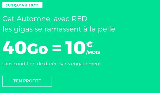 Le forfait RED by SFR avec 40 go de 4G en promotion.