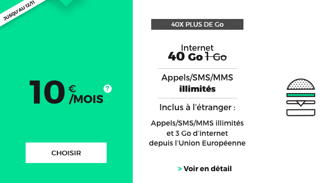 Promotion forfait RED by SFR 40 Go 4G.
