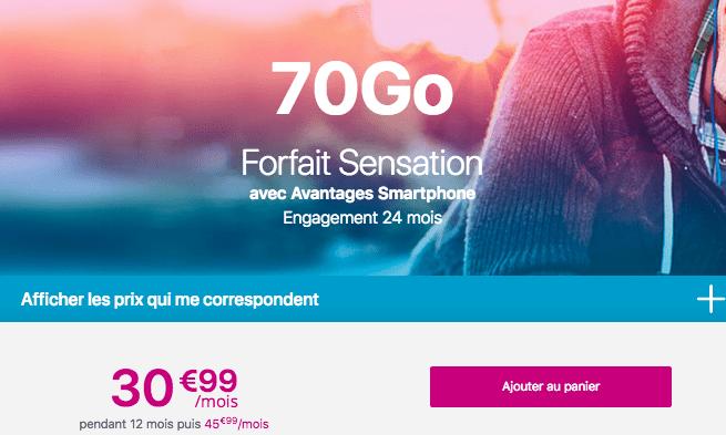 Le forfait mobile SEnsaton 70 Go de Bouygues Telecom.