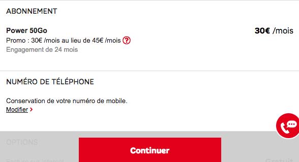 SFR promotion forfait mobile subventionné.