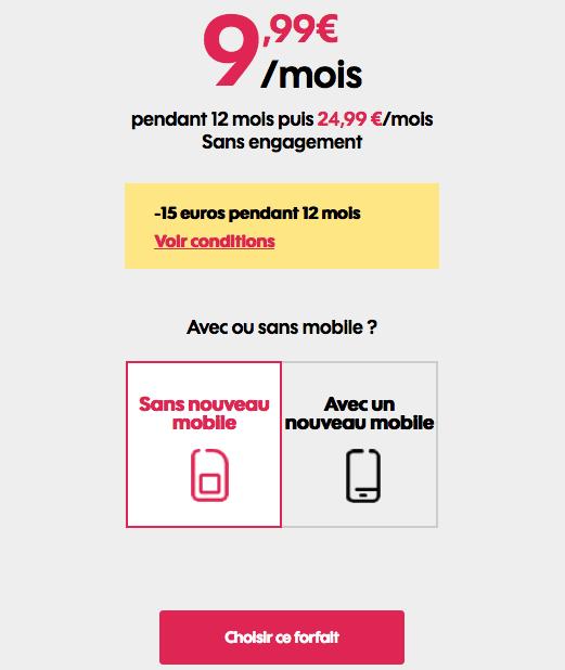 Forfait mobile promotion chez Sosh.