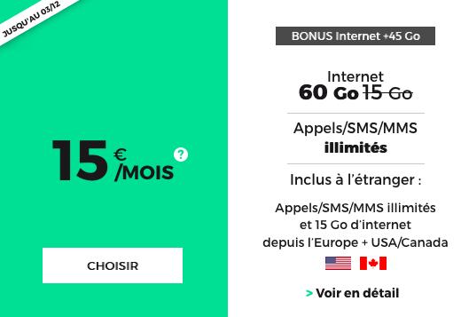 Forfait illimité et sans engagement de RED by SFR avec 60 Go de 4G.