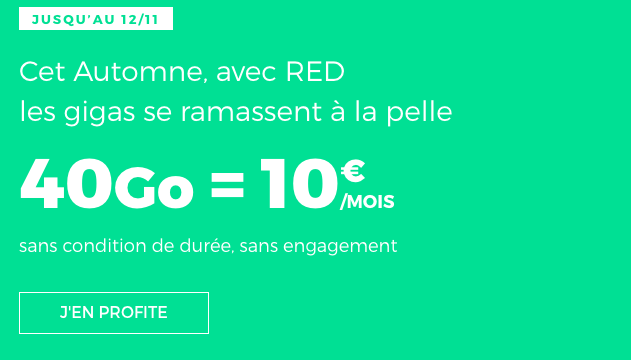 Forfait mobile 40 Go 4G pour 10€ chez RED by SFR.