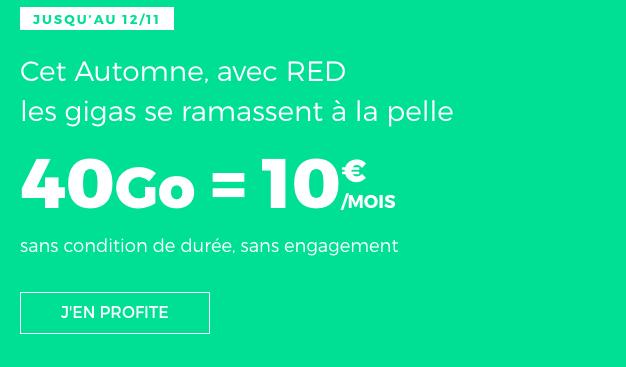 Promotion sur le forfait RED by SFR avec 40 Go de 4G.