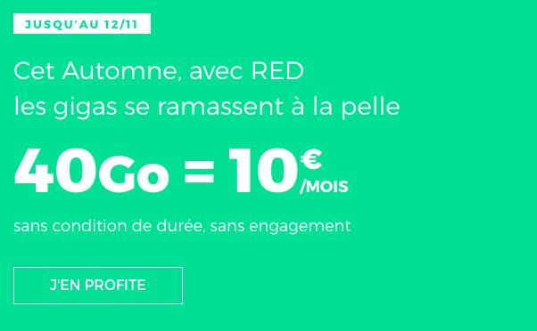 Promotion sur le forfait RED by SFR avec 40 Go d'Internet mobile.