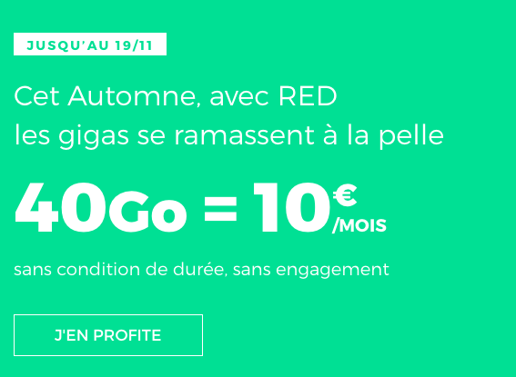 RED by SFR et le forfait pas cher doté de 40 Go d'Internet 4G.