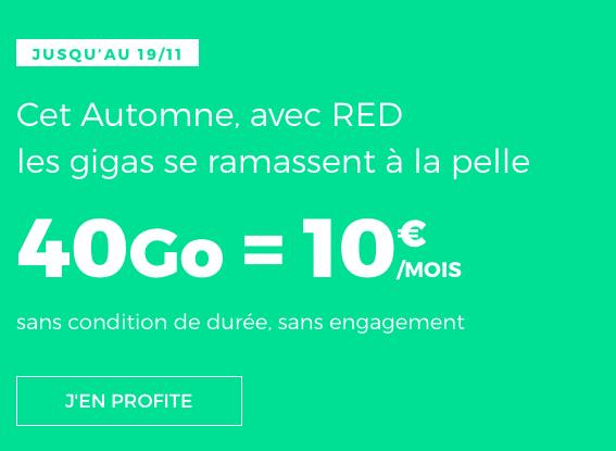 40 Go d'Internet pour 10€, un forfait pas cher de RED by SFR.