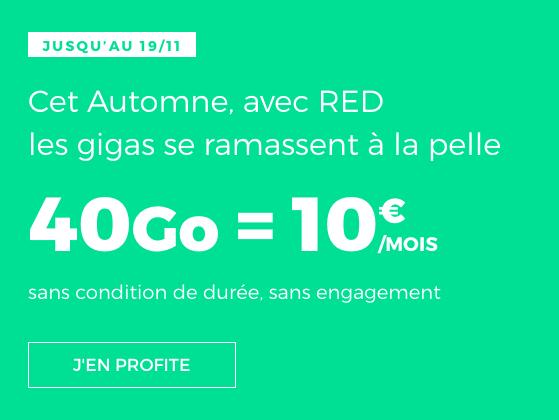 Forfait pas cher de RED by SFR avec 40 Go d'Internet 4G pour 10€.