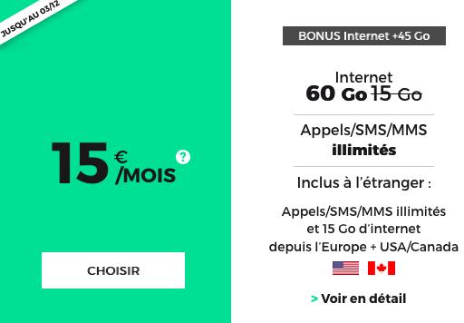 60 Go de 4G Internet mobile avec le forfait pas cher du Black Friday et Noel de RED by SFR.