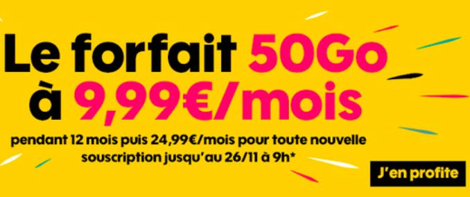 Le forfait pas cher avec 50 Go de 4G pour moins de 10€chez Sosh.