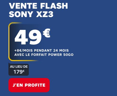 Sony Xperia XZ3 en vente flash avec un forfait 50 Go 4G chez SFR.