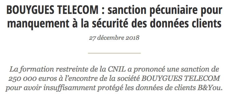 Bouygues Telecom : sanction pécuniaire pour manquement à la sécurité des données clients.