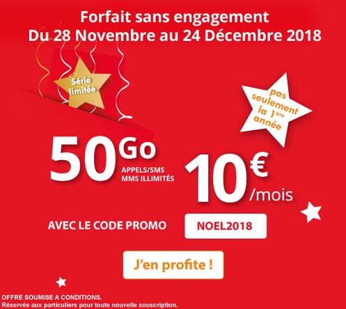 Forfait pas cher et sans engagement pour Noël chez Auchan Telecom avec de la 4G.