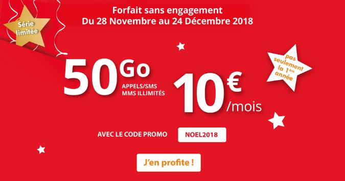 Forfait Auchan Telecom avec 50 Go 4G pour 10€/mois à vie.