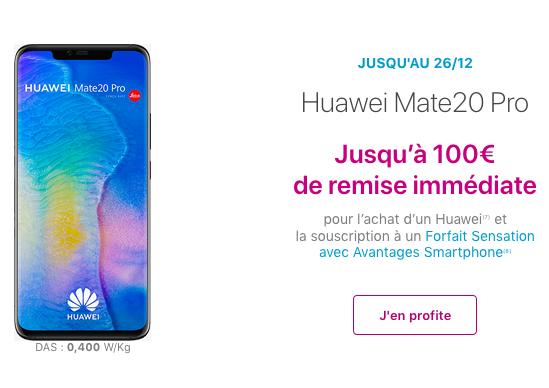 Smartphone Huawei Mate 20 Pro pas cher avec le Noël de Bouygues Telecom.
