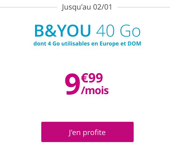 Le forfait sans engagement ni condition de durée disponible avec 40 Go de 4G chez B&YOU.