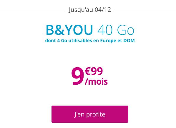 Forfait pas cher et sans engagement B&YOU avec 40 Go d'Internet en 4G.