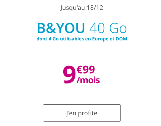 Forfait pas cher et sans engagement chez B&YOU avec 40 Go d'Internet.