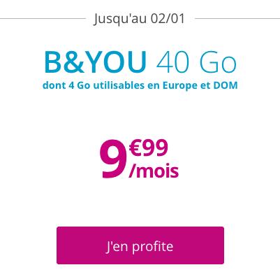 Forfait pas cher et sans engagement chez B&YOU avec 40 Go de 4G.