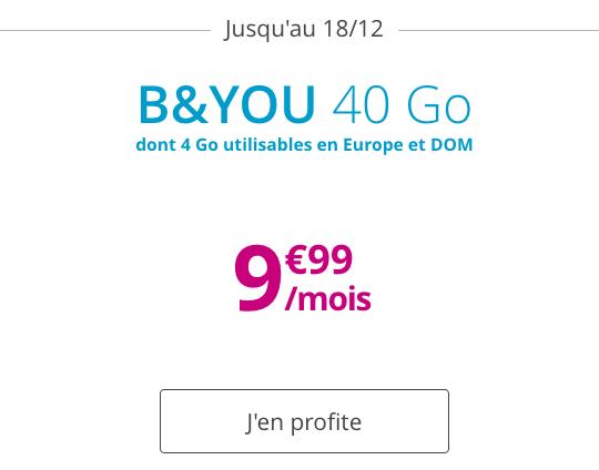 Forfait sans engagement avec 40 Go de 4G chez B&YOU, pas cher pour Noël.