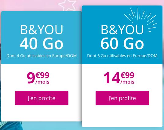 Les bons plans de B&YOU pour un forfait pas cher et sans engagement avec au moins 40 Go de 4G/