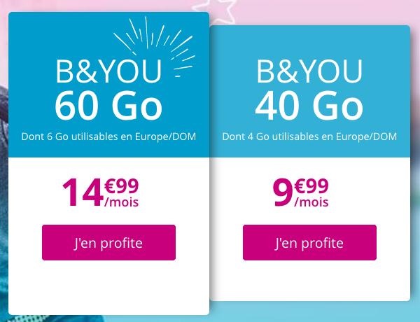 Forfait à petit prix et sans engagement chez B&YOU, avec 40 ou 60 Go de 4G.