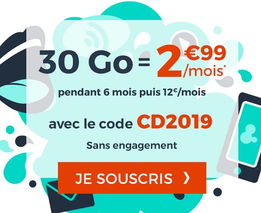 6 mois de tarifs préférentiels sur le forfait sans engagement à bas prix de Cdiscount Mobile.