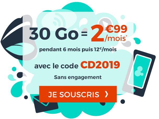 Promotion Cdiscount Mobile forfait 4G pas cher.