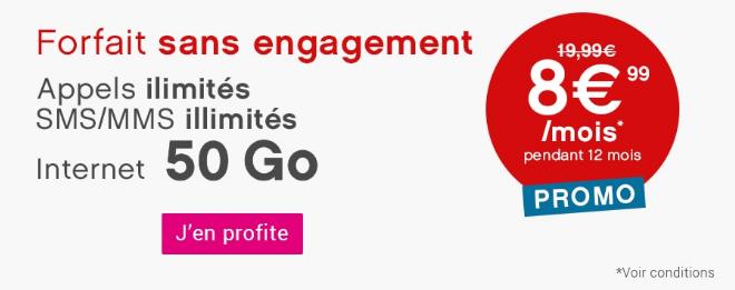 Forfait pas cher et sans engagement avec 50 Go de 4G chez Coriolis Telecom.