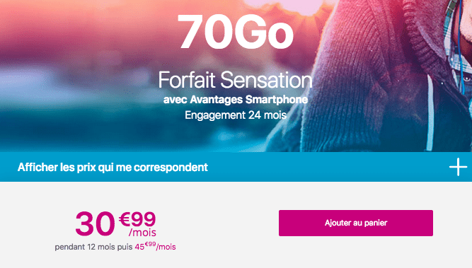 Forfait mobile Sensation 70 Go chez Bouygues Telecom.