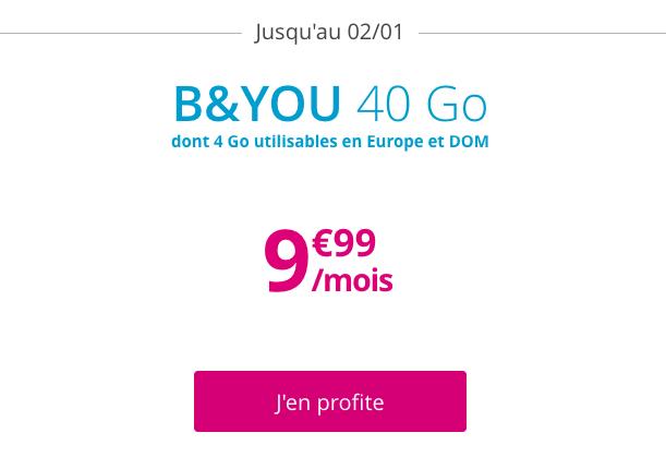 Le forfait 4G à vie de B&YOU.