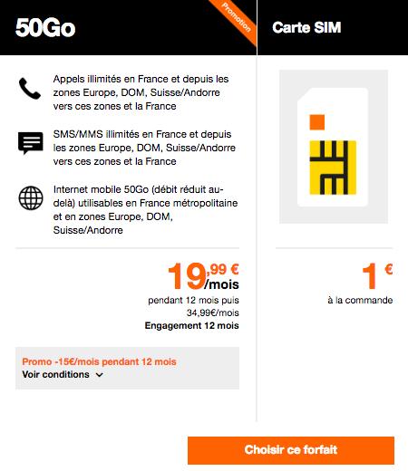 Orange 50 Go pour 19,99€